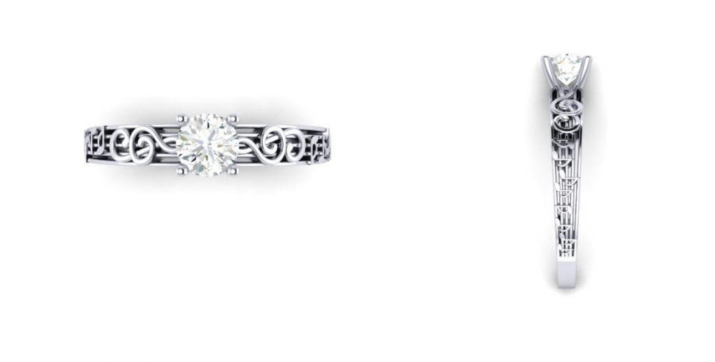 Brian and Danielle's Custom Designed Engagement Ring CAD View