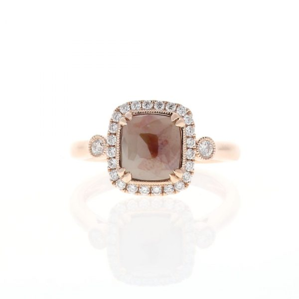 Faceted Rough Brown Diamond Engagement Ring