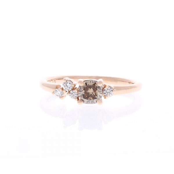 Brown Cushion Cut Diamond Engagement Ring