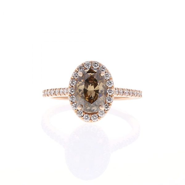 Brown Oval Diamond Engagement Ring