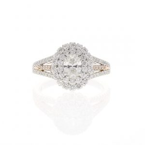 Two-tone Double Halo Engagement Ring