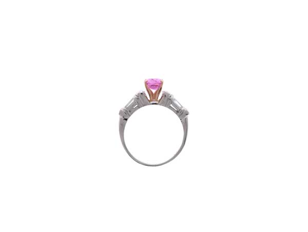 Pink Sapphire Engagement Ring Showcase Top View