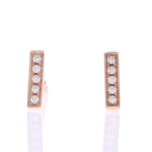rose gold diamond bar earrings