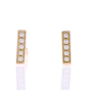 yellow gold diamond bar earrings