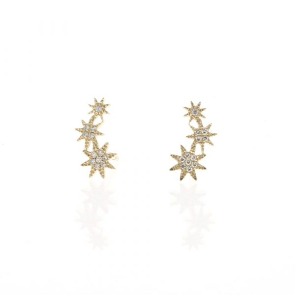 Triple Starburst Diamond Studs by Shy Creation