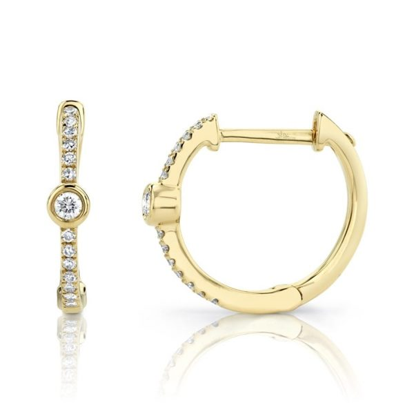 Bezel Diamond Hoops by Shy Creation