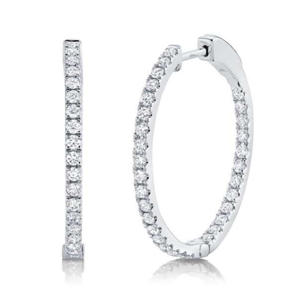 White Gold Diamond Hoops by Shy Creation