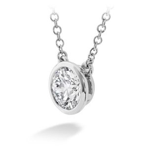 Classic Bezel Necklace by Hearts On Fire Showcase Side View