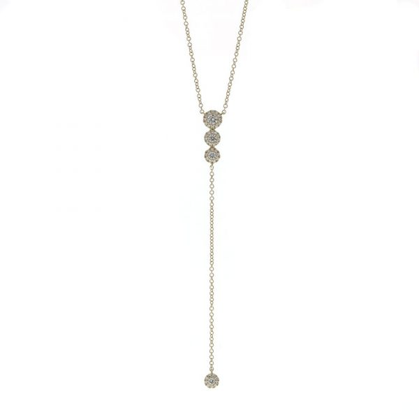 diamond cluster lariat necklace in yellow gold