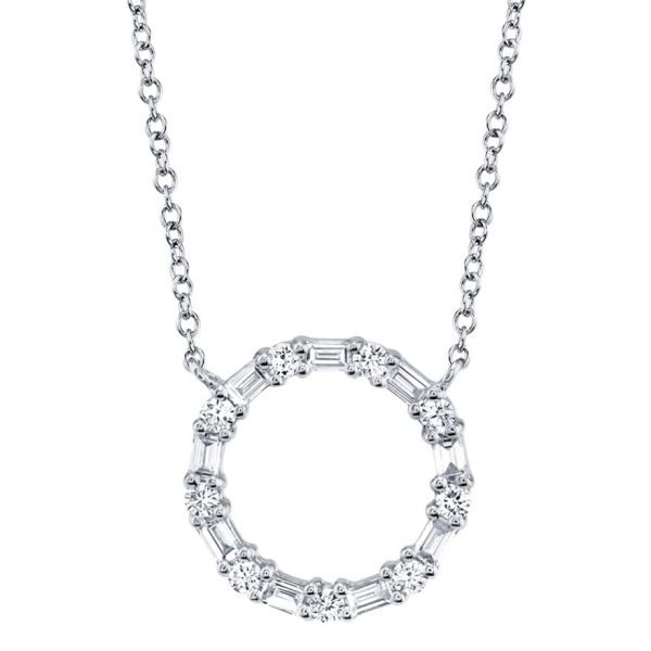 Diamond Baguette Circle Necklace by Shy Creation