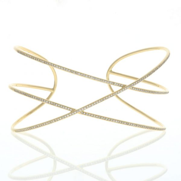 Crossover Bangle Bracelet in Yellow Gold