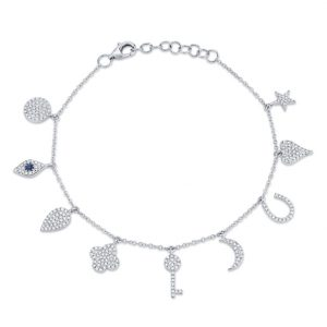 Diamond and Sapphire Charm Bracelet by Shy Creation