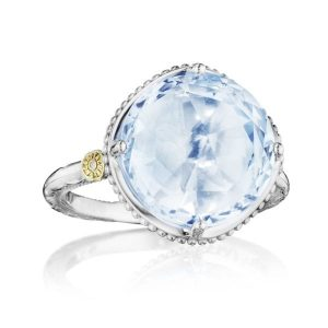bold simple gem ring in sky blue topaz by Tacori
