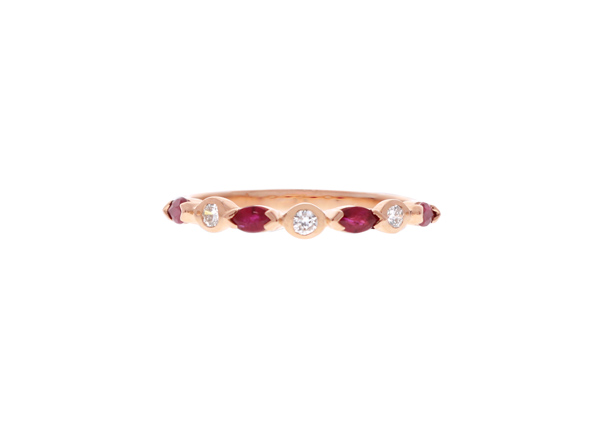 Ruby and Diamond Stackable Band Showcase View