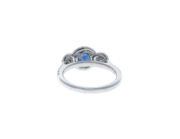 Sapphire Halo Engagement Ring Showcase Back View