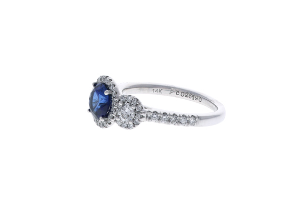 Sapphire Halo Engagement Ring Showcase Side View