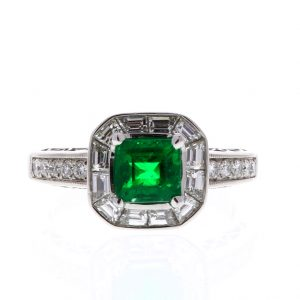 Estate Emerald Ring Showcase Front View