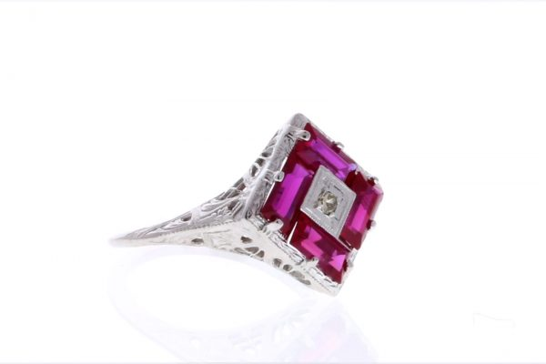 Estate Filigree Ruby Ring Showcase 3/4 View