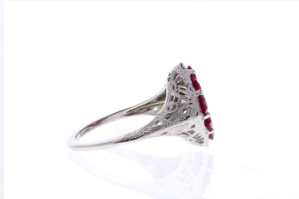 Estate Filigree Ruby Ring Showcase Side View