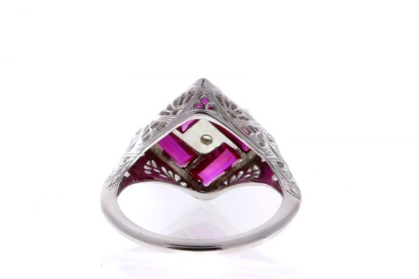Estate Filigree Ruby Ring Showcase Back View