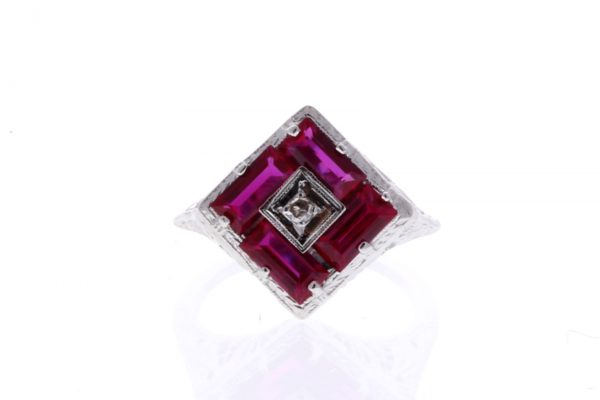 Estate Filigree Ruby Ring Showcase Front View