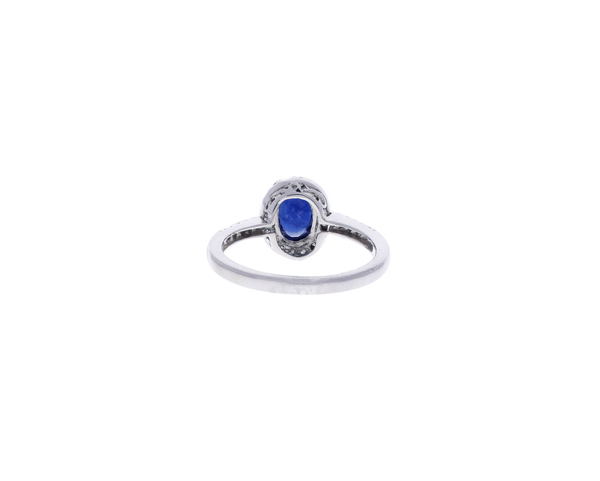 Sapphire Ring with Diamond Halo Showcase Back View