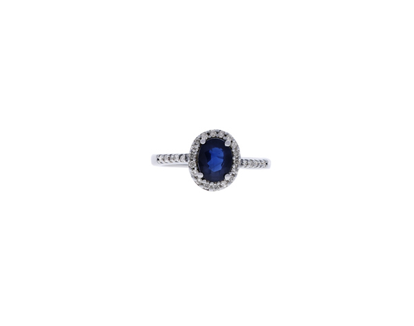 Sapphire Ring with Diamond Halo Showcase View
