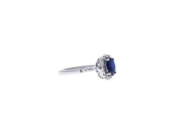 Sapphire Ring with Diamond Halo Showcase Side View