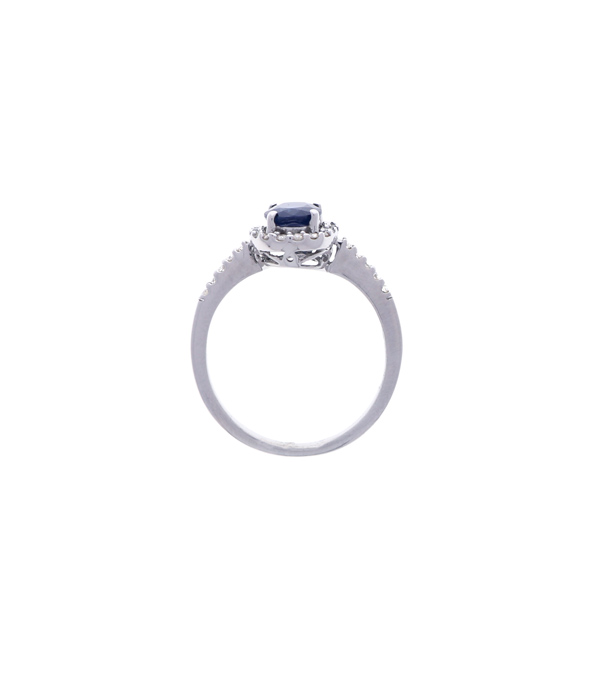 Sapphire Ring with Diamond Halo Showcase Top View