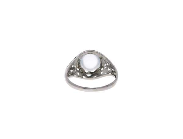 Platinum Moonstone Ring Showcase Back View