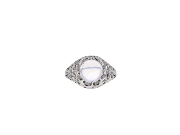 Platinum Moonstone Ring Showcase View