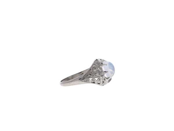 Platinum Moonstone Ring Showcase Side View
