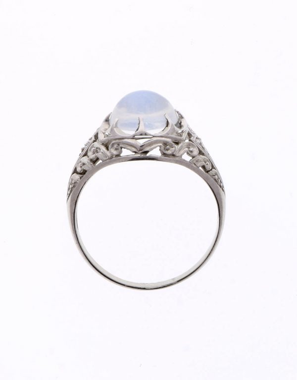 edwardian moonstone ring in platinum