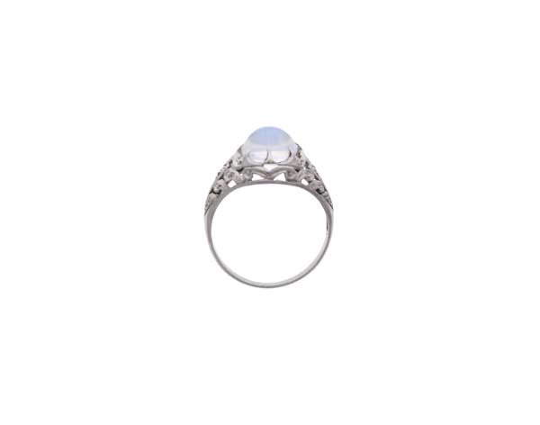Platinum Moonstone Ring Showcase Top View