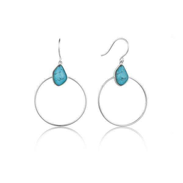 Turquoise Front Hoop Earrings by Ania Haie