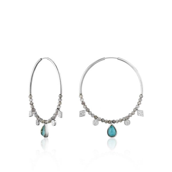 Turquoise and labradorite hoop earrings by ania haie