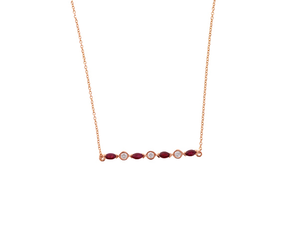 Ruby and Diamond Bar Necklace Showcase View