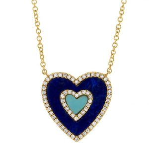 Lapis, Turquoise, and Diamond Heart Necklace by Shy Creation