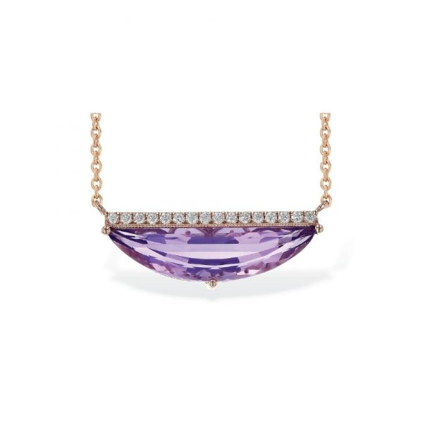 amethyst and diamond necklace in 14kt rose gold