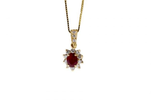 Estate Ruby Necklace Showcase Front View