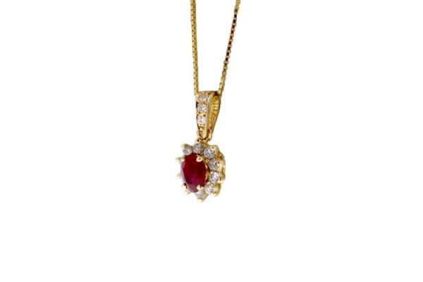 Estate Ruby Necklace Showcase Side 3/4 View