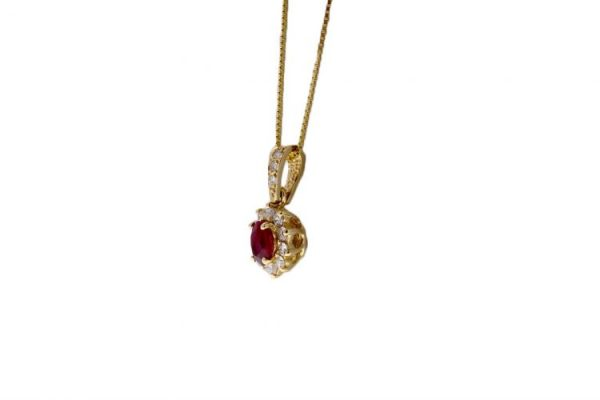 Estate Ruby Necklace Showcase 3/4 View