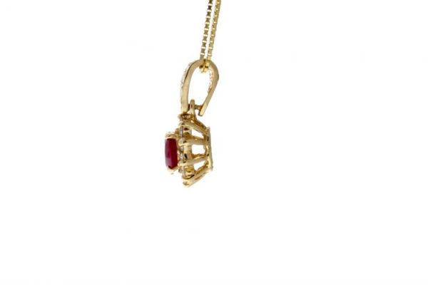 Estate Ruby Necklace Showcase Side View