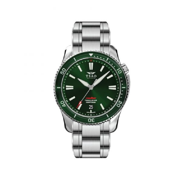 Steel Torsk Diver with Emerald Green Dial by Tsao Baltimore