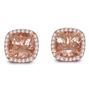 Morganite Halo Stud Earrings Showcase View