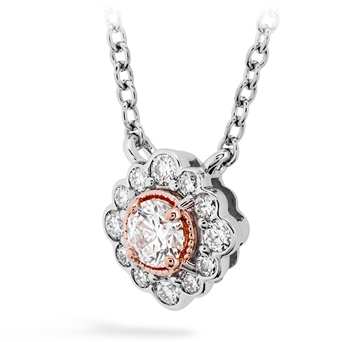 Liliana Flower Pendant by Hearts On Fire Showcase Side View
