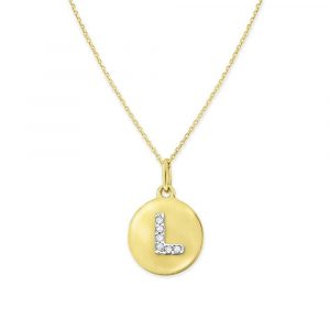 "Letter ""L"" Disc Necklace Display View"