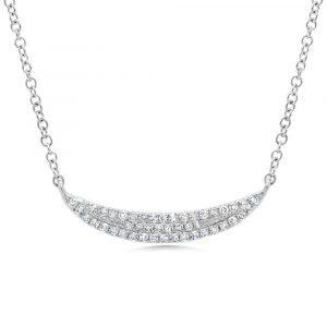 Diamond Crescent Necklace Front View