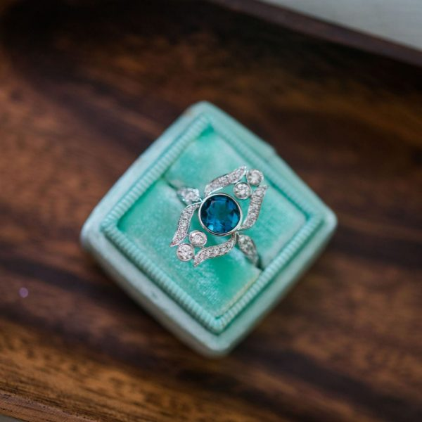london blue topaz alternative engagement ring by little bird birdal