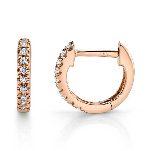 Huggie Earrings in Rose Gold Showcase View